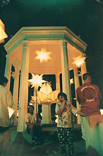 Big Hill Rotunda as lantern lit  concert stage, 11 December 1998