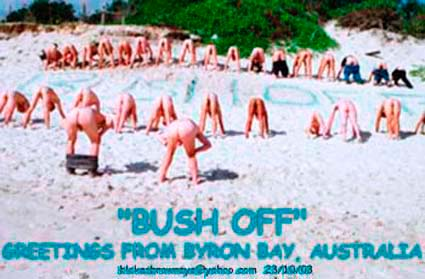 Byron blokes brown eye Bush on Belongil Beach, Byron Bay at dawn 23 October 2003
