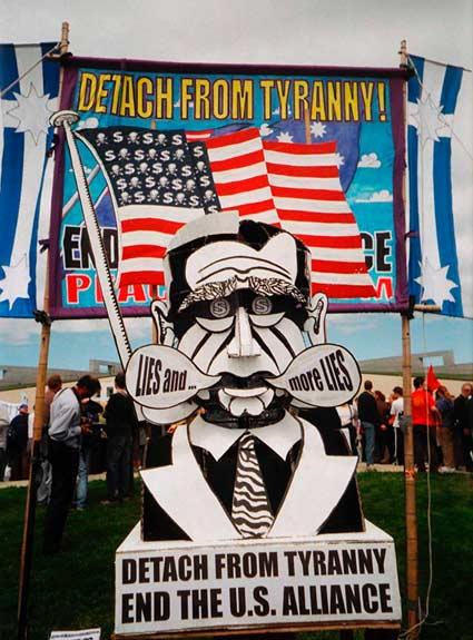 Bush/Howard effigy outside parliament House during visit by US President Bush 23 October 2003