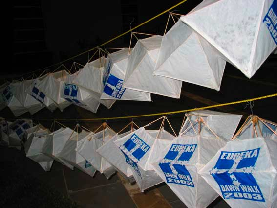 Lanterns on line in Federation Square, 3 am 7 December 2003