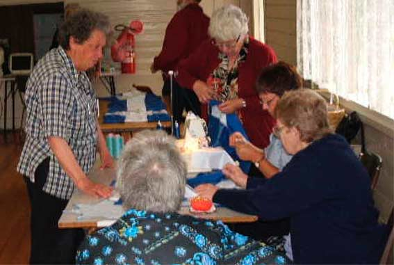 The first meeting of the Eureka150 Women's Sewing Circlein the Eureka Memorial Hall, 1 November 2004